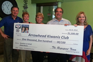 Arrowhead Kiwanis - Team Rapaport Donation - Chip Bobbi Diana Michael Dawn Marie - Jul 24 2014